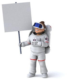 Funny 3d illustration of an astronaut with a vr helmet