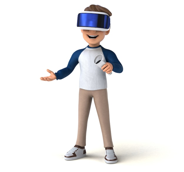 Funny 3d illustration of a cartoon kid with a vr helmet