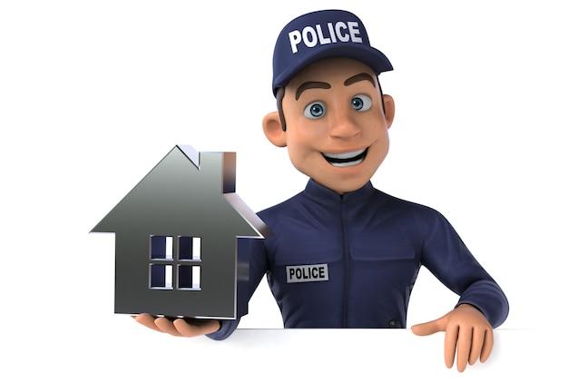 Funny 3d illustration of a cartoon police officer