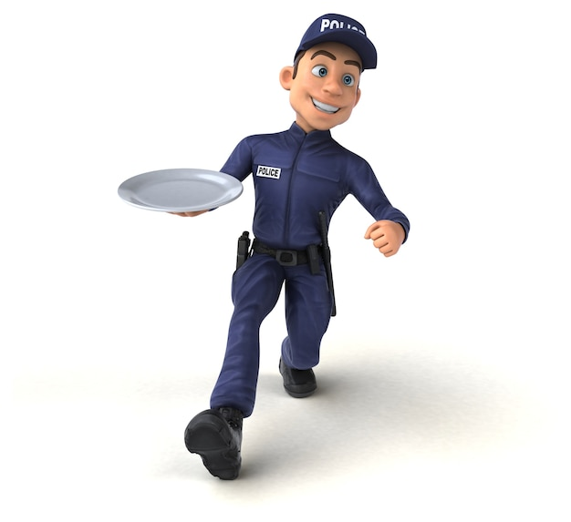 Funny 3d illustration of a cartoon police officer