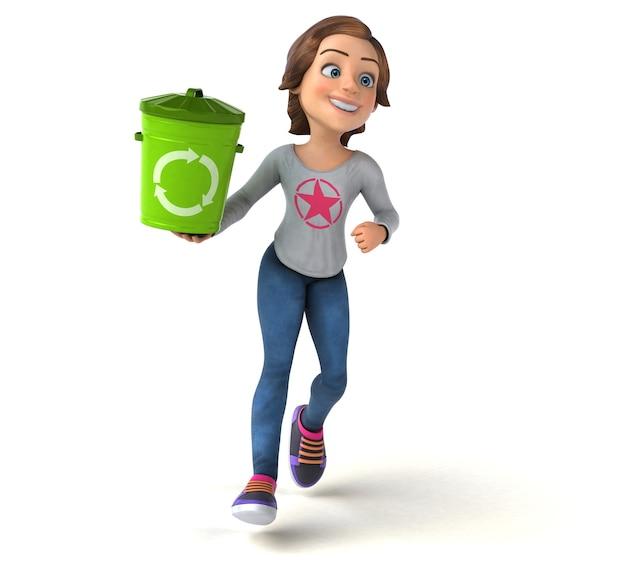 Funny 3d illustration of a cartoon teenage girl with trash bin