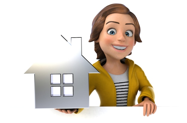 Funny 3d illustration of a cartoon teenage girl