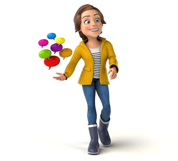 Funny 3d illustration of a cartoon teenage girl