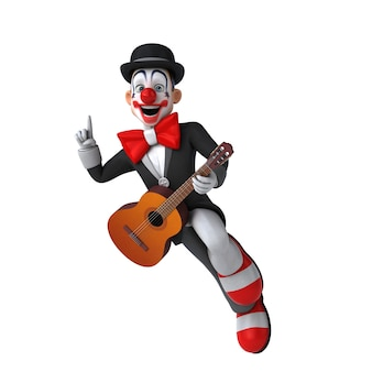 Funny 3d illustration of a funny clown