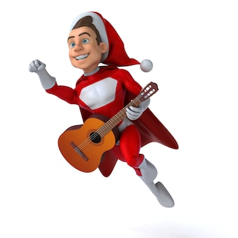 Funny 3d illustration of a funny super santa claus