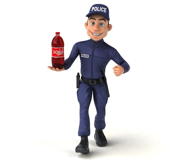 Забавные 3d иллюстрации мультипликационного полицейского