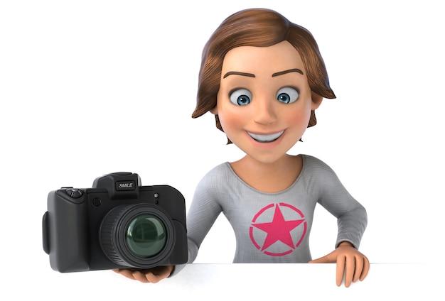 漫画の10代の少女の面白い3dイラスト