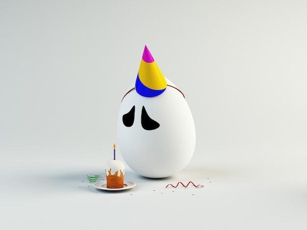 Забавная иллюстрация 3d печального яйца дня рождения. концепция пасхи Premium Фотографии