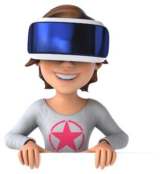 Забавная 3d иллюстрация девочки-подростка в шлеме виртуальной реальности