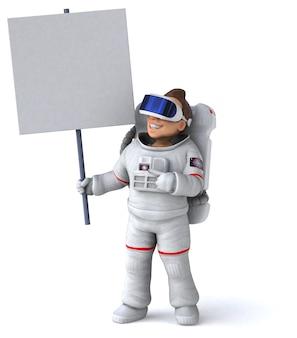 Смешные 3d иллюстрации космонавта в шлеме виртуальной реальности