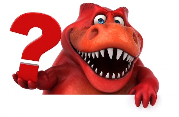 Funny 3d red dinosaur character holding a question mark