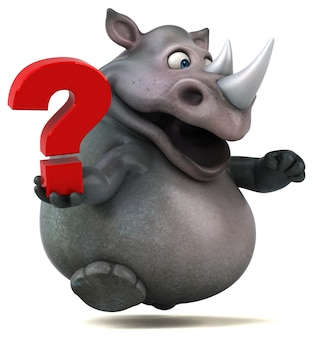 Funny 3d rhino character holding a question mark