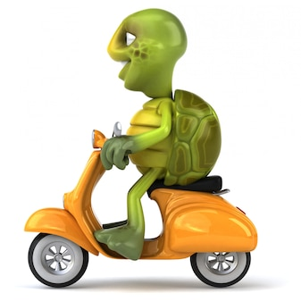 Funny 3d turtle character riding a scooter