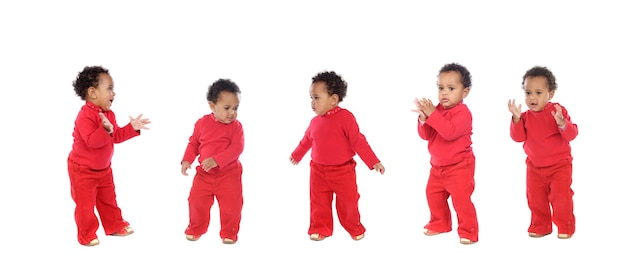 Funny african baby isolated on white background