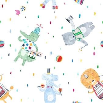 楽器を持つ面白い動物。水彩のシームレスなパターン。ファブリック、テキスタイル、保育園の壁紙の創造的な幼稚な背景。