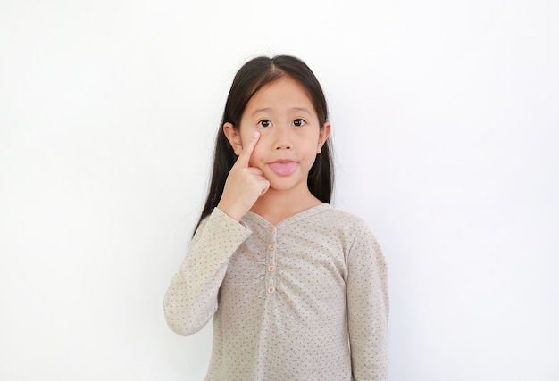 Funny asian little child girl sticking her tongue out to make faces