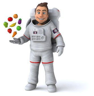 Funny astronaut 3d illustration