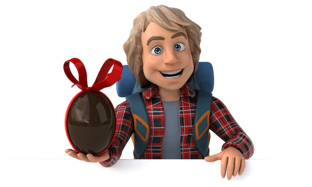 Funny backpacker cartoon guy with easter egg