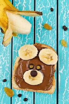 Забавный сэндвич с мордочкой медведя для детей закуска