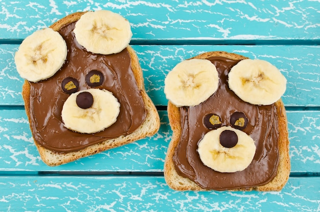 Funny bear face sandwich for kids snack food