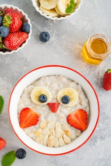 회색 콘크리트 배경에 과일과 열매로 만든 올빼미 얼굴이 있는 귀리 죽이 있는 재미있는 그릇. 아이들을 위한 음식 아이디어, 평면도, 복사 공간.