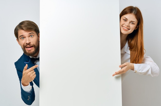 Funny business man and woman white poster presentation copy space.
