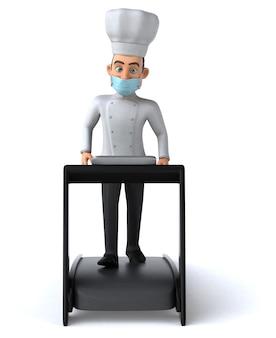 마스크와 함께 재미있는 만화 요리사 캐릭터
