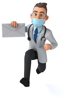 마스크와 함께 재미있는 만화 의사 캐릭터