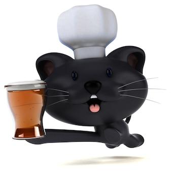 Illustrazione 3d del gatto divertente