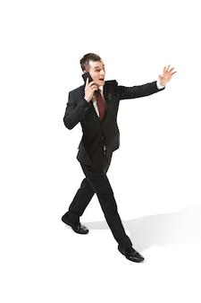 白で面白い陽気なビジネスマン