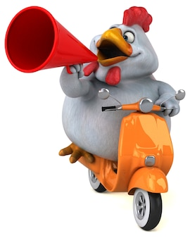 Funny chicken 3d illustration