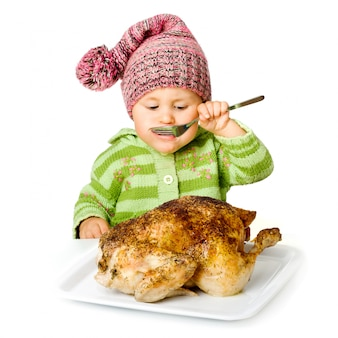 Funny child eating