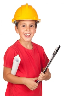 Funny child with a yellow helmet
