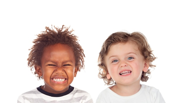 Funny children making faces with disgust