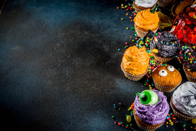 Funny children's cupcakes for halloween