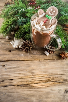 Funny christmas cocoa with marshmallow