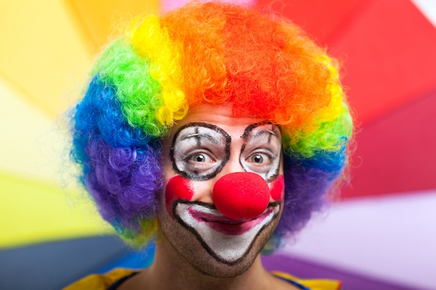 Funny clown in a colorful