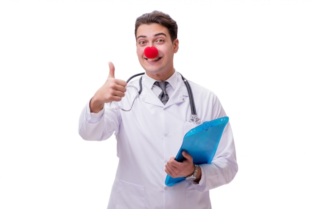 Funny clown doctor isolated on the white