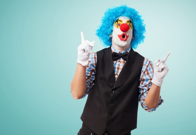 Funny clown with blue background