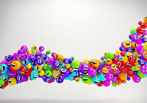 재미있는 다채로운 미소. 긍정적인 감정