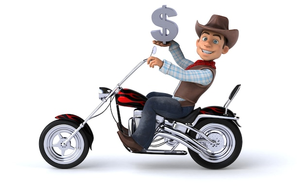 Funny cowboy 3d illustration