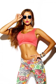 Funny crazy glamor stylish sexy smiling beautiful young sport woman model in summer bright hipster clothes with big tits