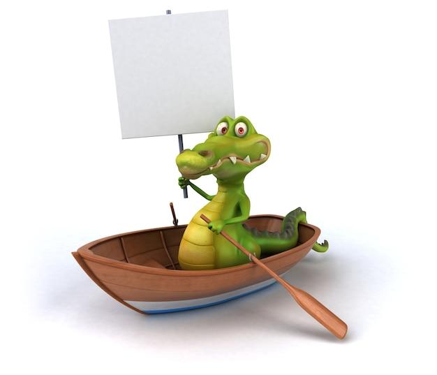 Funny crocodile with placard