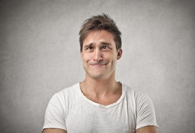 Funny cross-eyed man