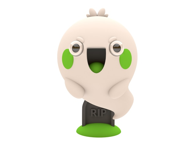 Funny and cute 3d halloween ghost character in kawaii style