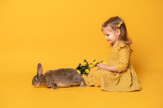 토끼와 튤립 노란색 배경에 앉아 노란색 드레스에 재미 있은 귀여운 아이 소녀.