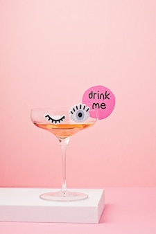 Funny cute cocktail glass with eyes
