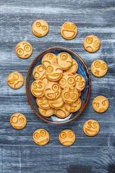 Funny different emotion cookies, smiling and sad cookies