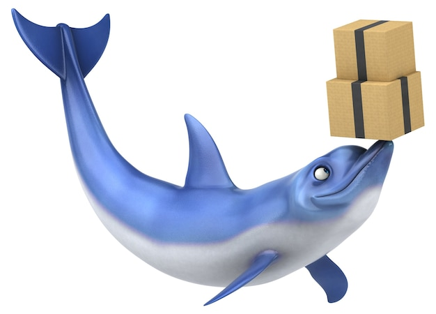Funny dolphin 3d illustration