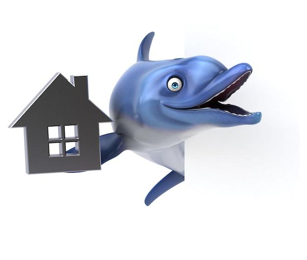 Funny dolphin 3d illustration